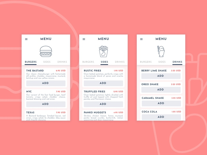 Daily UI :: 043 :: Food Menu menu food 043 100daysofui illustration app challenge daily 100 challenge daily ui dailyui ui figma design