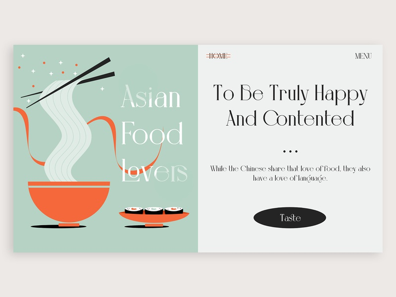 Asian Food //// food noodle vector typography webdesign concept ux design ui ux illustration design colors adobe xd