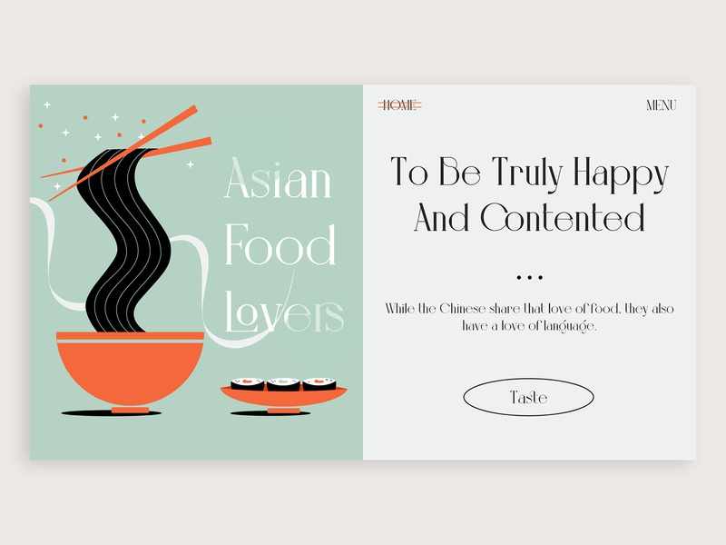 Asian Food illustrator vector typogaphy noodle food webdesign branding concept ux design ux ui illustration design colors adobe xd