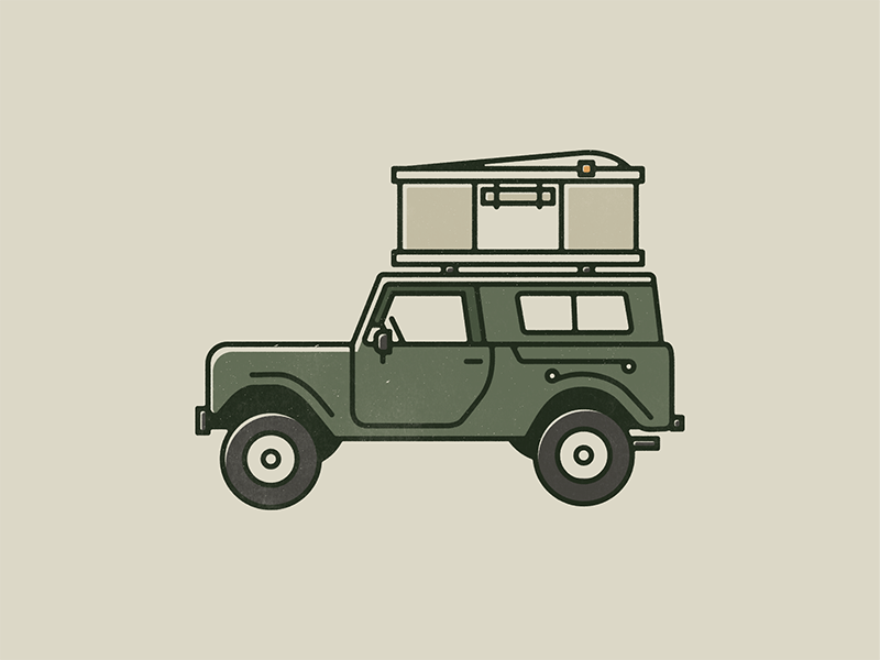 Scout illustration design jeep scout camping camp mono print vector line