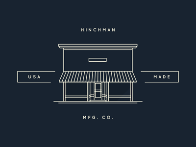 Hinchman MFG. CO. logo building shadow mono line mfg co. michigan branding vector illustration