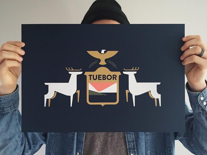 Teubor music poster tuebor flag print screenprint illustration flint michigan