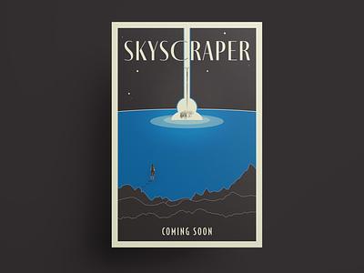 Skyscraper movie poster anthonyboydgraphics adobe fresco adobe illustrator typography character fantasy sci-fi movie poster poster design poster illustration vector illustration vector art vector