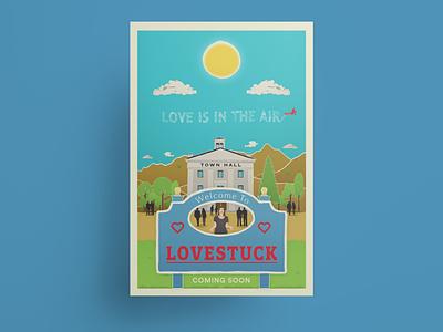 Lovestuck movie poster vector illustration vectorart vector typography romcom romantic comedy movie poster poster design poster illustration character anthonyboydgraphics adobe illustrator adobe fresco