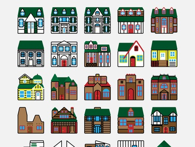 House Exterior Icons midcenturymodern midcentury art deco colonial victorian craftsman icon design exterior building architecture home house iconography icon set icons icon logo adobe illustrator