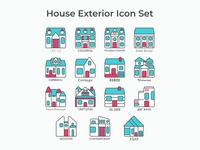 Revised House Exterior Icon Set minimalist iconography exterior home house architecture illustration vector icon design iconset icons icon set icon