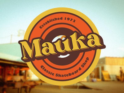 Mauka logo - classic skateboard shop vector illustration surfing surf skateboard skate 1970s 70s branding design brand logo brand design adobe photoshop vector typography adobe illustrator