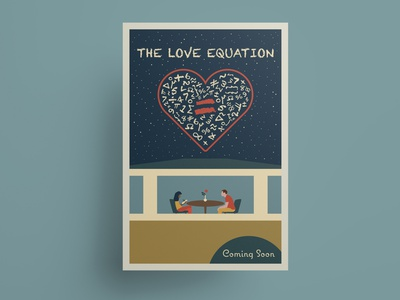 The Love Equation movie poster vector illustration flat design romantic comedy romcom symbols maths math heart love film poster movie poster poster art poster design vector adobe illustrator