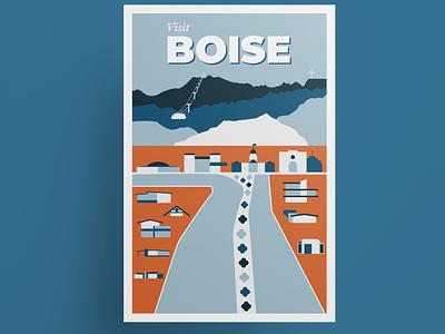 Boise vintage travel poster illustration vector illustration vector art vector midcenturymodern mid century modern midcentury mid century idaho boise travel poster poster design poster