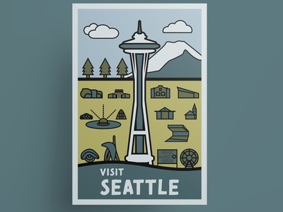 Seattle vintage travel poster washington seattle hipster town hipster style hipster illustration vector illustration vector art vector thick lines travel poster poster design poster art poster