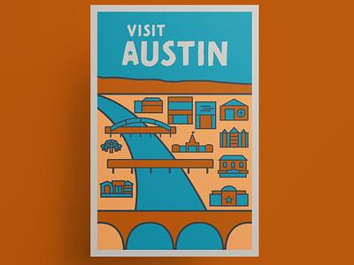 Austin vintage travel poster austin texas texas austin vintage poster vector illustration illustration vector art vector poster design poster thick lines hipster travel poster
