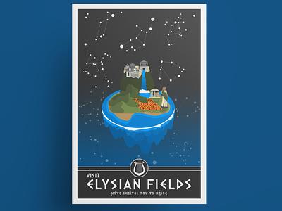 Elysian Fields travel poster etsy shop etsy seller etsy ancient greek mythology greece greek travel poster vector art vector poster art poster design poster
