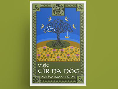 Tír na nÓg travel poster etsy irish ireland mythology celtic mythology celtic symbol celtic knot celtic drawing illustration vector illustration vector art vector poster art poster design poster