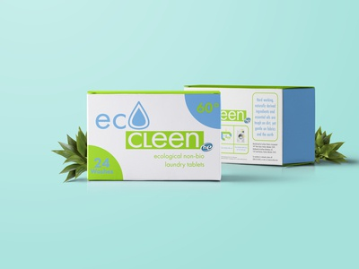 EcoCleen laundry packaging mockup