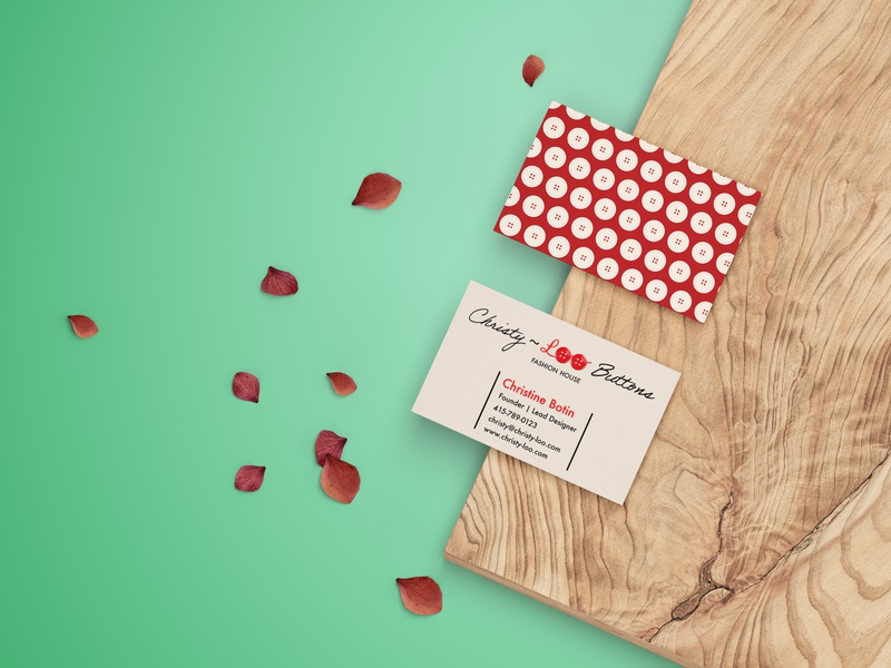 Christy-Loo Buttons business card vector logodesign logo business card minimalist typography brand design branding brand adobe photoshop adobe illustrator