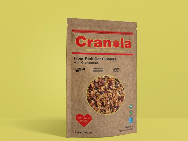 Cranola package design recycled paper cranberry granola package mockup package design graphic design typography logo brand design branding adobe photoshop adobe illustrator