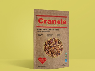 Cranola package design recycled paper cranberry granola package mockup package design graphic design typography logo brand design branding adobe photoshop adobe illustrator