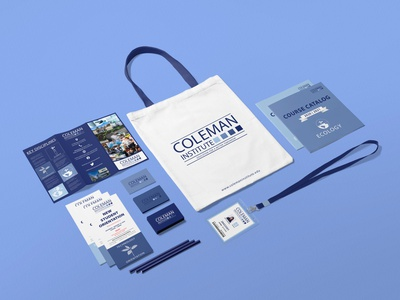 Coleman Institute brand collateral tote bag business cards brochure design flyer design college university brand assets brand collateral vector brand design branding