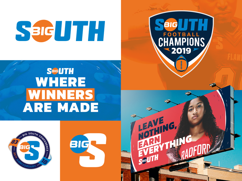 Big South Conference brand book standards guide grid white blue orange radford track basketball football sports primary secondary anniversary billboard logo