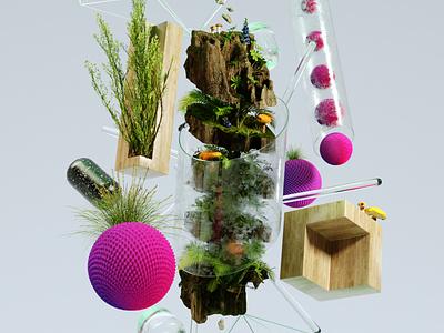 FLORA #2 texture softbodies spring wood vibes positive octane nature fresh crislabno colors clean cgi art 3d