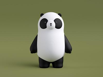 Panda illustration render 3d redshift crislabno c4d toy panda clean bear hero brand
