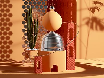 Marocco illustration render octane c4d cgi 3d red orange marocco setdesign set sand