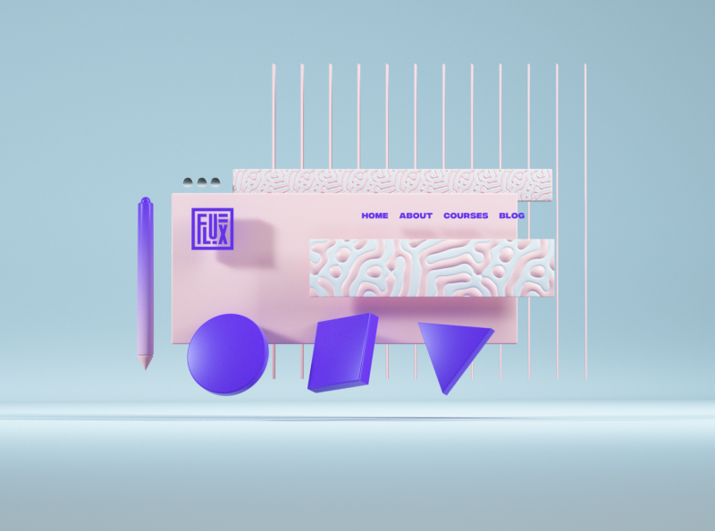 Flux Academy: Visual System cinema4d crislabno system keyvisual website clean illustration ui webdesign fluxacademy 3d