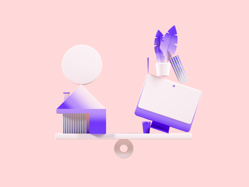 Flux Academy: Work-life Balance purple pink visual system icons clean ux ui redshift octane illustration crislabno c4d render 3d art 3d