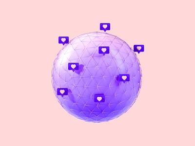 Flux Academy: Build your Network crislabno icon globe app clean uiux octane illustration design render 3d art c4d 3d