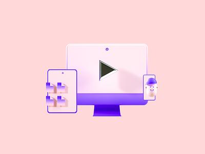 Flux Academy: Devices motion graphics after effects cinema4d web icon ux ui octane illustration c4d render design 3d