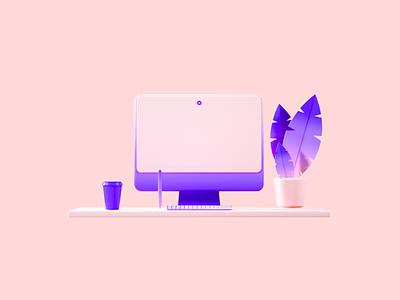 Flux Academy: Desk desk clean crislabno branding ux ui illustration c4d render design 3d