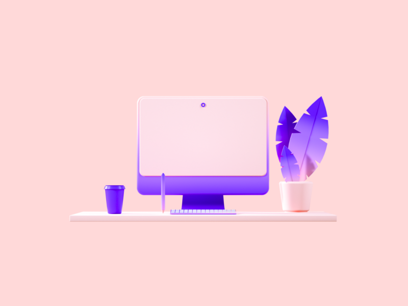 Flux Academy: Desk desk clean crislabno branding ux ui illustration c4d render design 3d