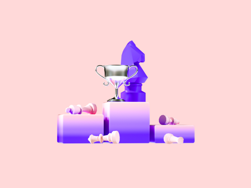 Flux Academy: Strategy Equals Success playful purple pink strategy chess clean success branding ux ui illustration c4d design 3d