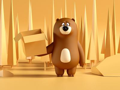 Hungri the bear forest freelancer artdirector crislabno redshift maxon c4d zbrush modeling character 3d branding hungri bear