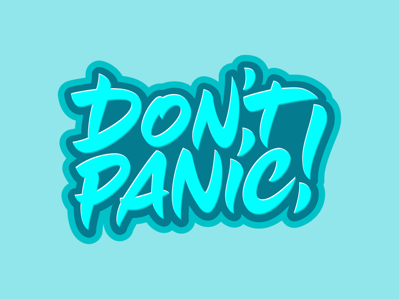 Don't panic! logotype typography fun print design branding type logo design vector lettering