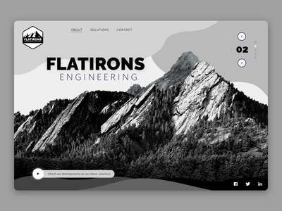 Simple Web Concept for Engineering Co. landing page grey black and white branding solutions wavy slider engineering mountains video background