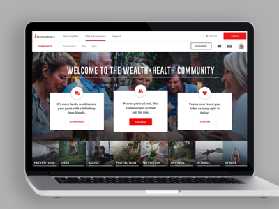 TA Wealth+Health Community Site Re-design - Desktop View