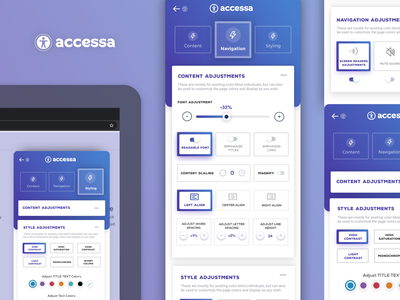 Accessibility Plugin Widget Mockup - accessa web tool purple colors gradient tool widget plugin disabled disability inclusion accessibility