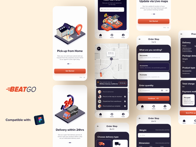 BeatGo - Courier App uiux ui illustration 3d design courier service delivery app ux desgin illustration onboarding screen app screen app design ui design figma app ux ui