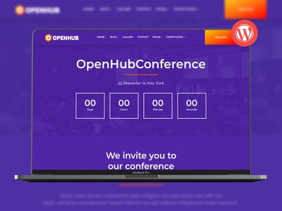 OpenHub - A Stylish Events & Conference Theme workshop webinar speakers seminar schedule one page meeting events event website event theme countdown conference theme conference