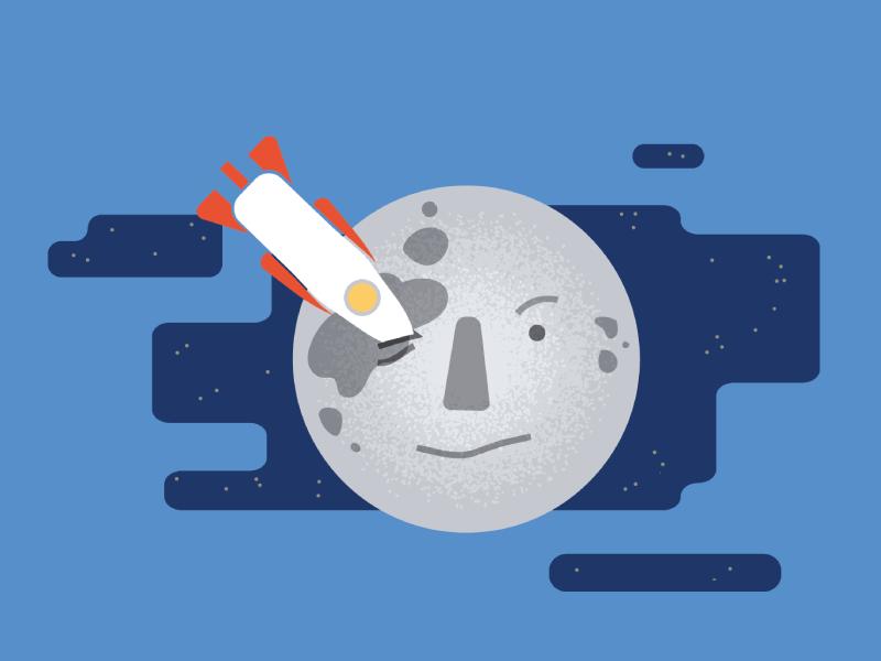 Melies Moon Spot Illo techstars mobile branding phone startup space lunar spot illustration