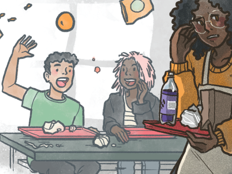 We Are Teachers - Cafeteria Trouble editorial education illustration