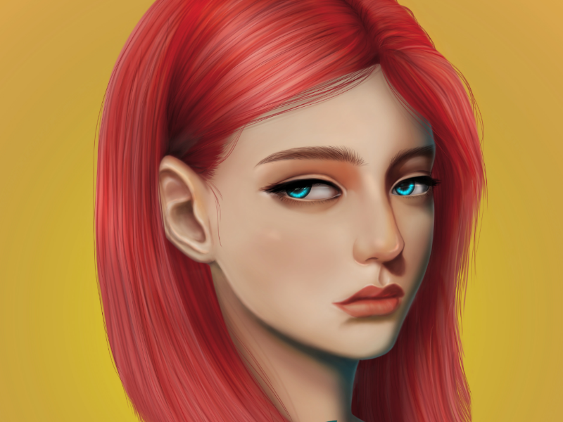 The Girl with Red Hair art creative design character beautiful digital painting realism 2d red girl illustration