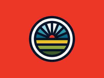 Bicycle Company Logo optimism logo bicycle bike wheel spokes sunrise flat bold thick lines