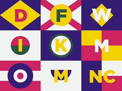 Minimal State Flags color blocking flat circle gotham stripe flag state geometric minimal