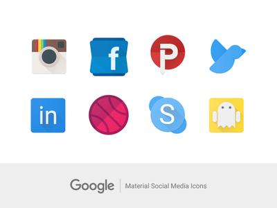 Material Social Media Icons flat snapchat skype dribbble linkedin twitter pinterest facebook instagram material google icons