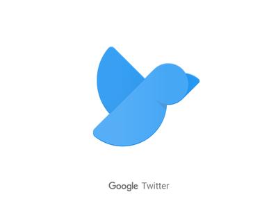 Google Twitter animal bird product logo shadow flat icon material twitter google