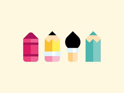 Writing Instruments illustration playful cute fun minimal flat crayon brush vector pencil