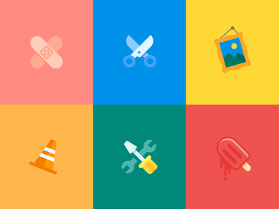 Uh Oh... traffic cone band aid whoops broken popsicle screwdriver wrench painting scissors icon illustration vector