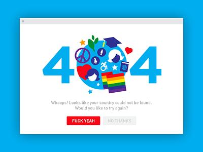 USA 404 love peace lgbt women vector stars broken error ux election 404 america